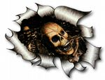 A4 Size Ripped Torn Metal Design With Evil SKULL Inside Motif External Vinyl Car Sticker 300x210mm
